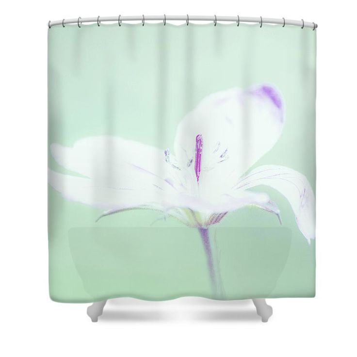 Delicate flower shower curtain mint green bathrooms for Shower curtain savers