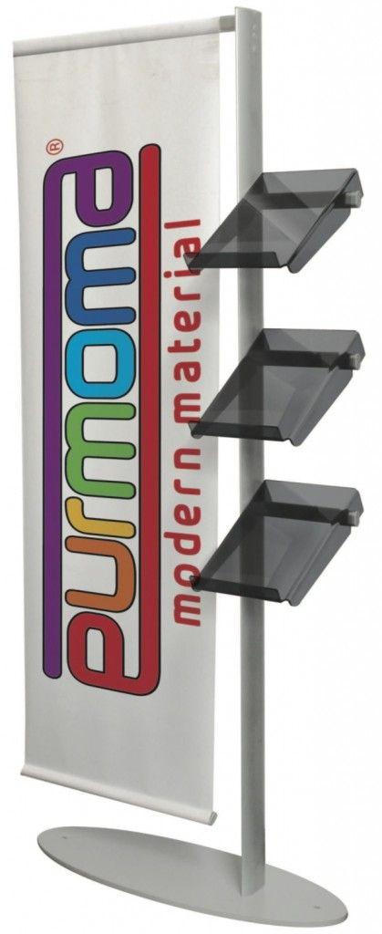 Espo-banner, personalizzato. Struttura in PVC alta resistenza e alluminio anodizzato, composto da bracci con 3 tasche in Perspex fumè e un braccio porta banner cm. 60 x 200 in PVC da personalizzare in quadricromia sia fronte che retro .