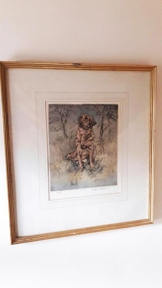 Large Vintage Framed Limited Edition Etching/Screenprint of a