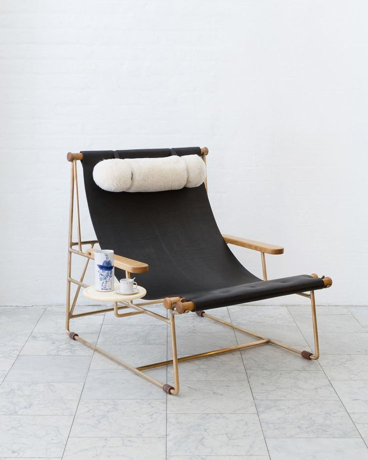 Deck Chair With Dark Mulled Leather Sling Seat By