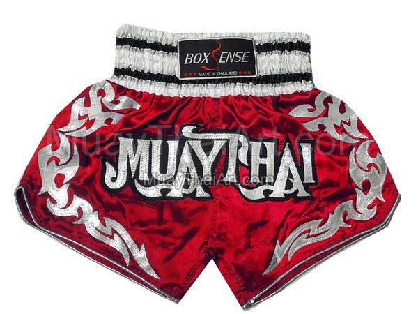 Boxsense Muay Thai Boxing Shorts : BXS-076-Red