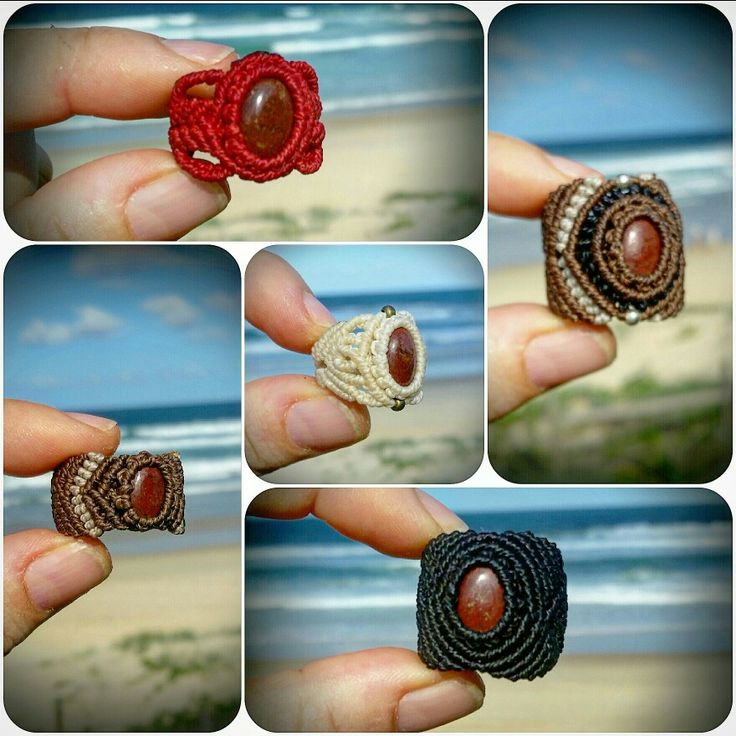 LifeLovesMe micro macrame creations. Micro Macramé Gemstone Rings with Red Jasper. Approx 1.5hrs each to create. Made in Coolum Beach, Australia. AUD28 each instagram page ilovelife.n.lifelovesme or etsy.com.au/shop/LifeLovesMe