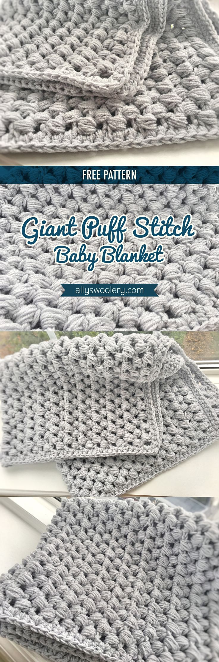 { FREE PATTERN } Giant Puff Stitch Baby Blanket from Ally's Woolery