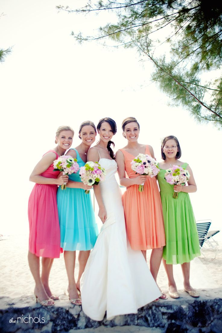 love the colorful bridesmaids - beach wedding grand cayman by the nichols