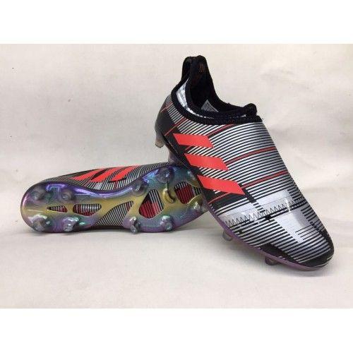 Nuevos Botas De Futbol Adidas Glitch Skin Baratas FG Negro Plateado Rojo
