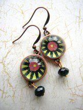 Green Dot Earrings -Copper