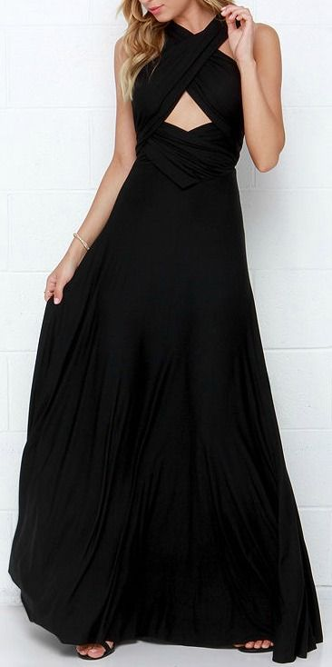"""Versatility at its finest, the Tricks of the Trade Black Maxi Dress knows a trick or two... or four! Two, 75"""" long lengths of fabric sprout from an elastic waistband and wrap into a multitude of bodice styles including halter, one-shoulder, cross-front, strapless, and more. Stretchy black jersey knit hugs your curves as you discover new ways to play with this fascinating frock. Full, maxi-length skirt has a raw hemline. #lovelulus"""