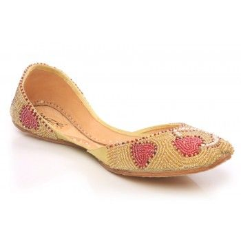 Womens heart Shapped Leather Khussa Pumps