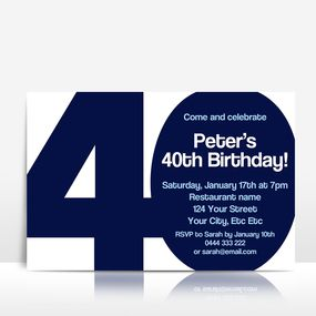 The BIG 4-0 birthday invitation