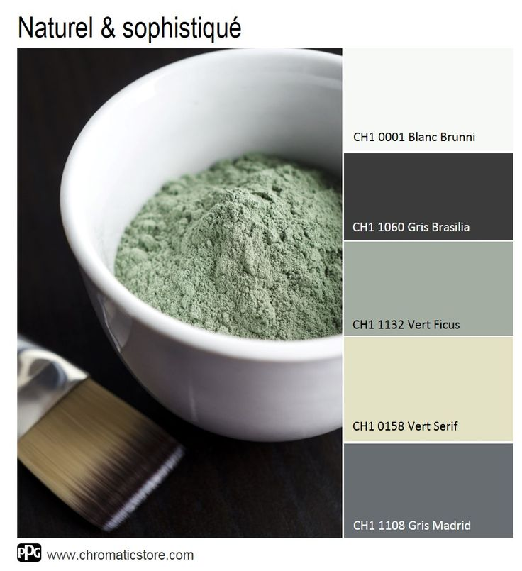 Le Vert Ficus, en couleur de fond, illustre une ambiance naturelle. La note sophistiquée est apportée par le contraste avec des tonalités plus ou moins soutenues de gris. www.chromaticstore.com #inspiration #déco #couleur2016