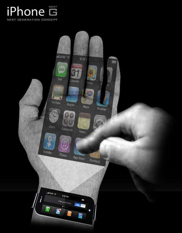 The iPhone Next G is Virtually Weightless in Your Palm Designed by Samuel Lee Kwon, the iPhone Next G redefines its current concrete counterpart. Though the new wrist-worn concept is tangible technology, the Apple gadgets familiar touchscreen is projected onto the wearers palm. #technology