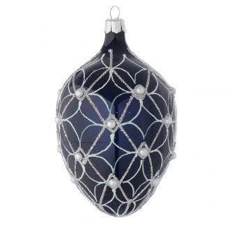 Palla uovo vetro soffiato blu e bianco 130 mm | vendita online su HOLYART