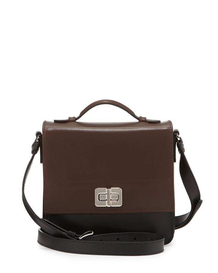 Half-Flap Small Turn-Lock Crossbody Bag, Black/Brown (Nero/Cocoa ...