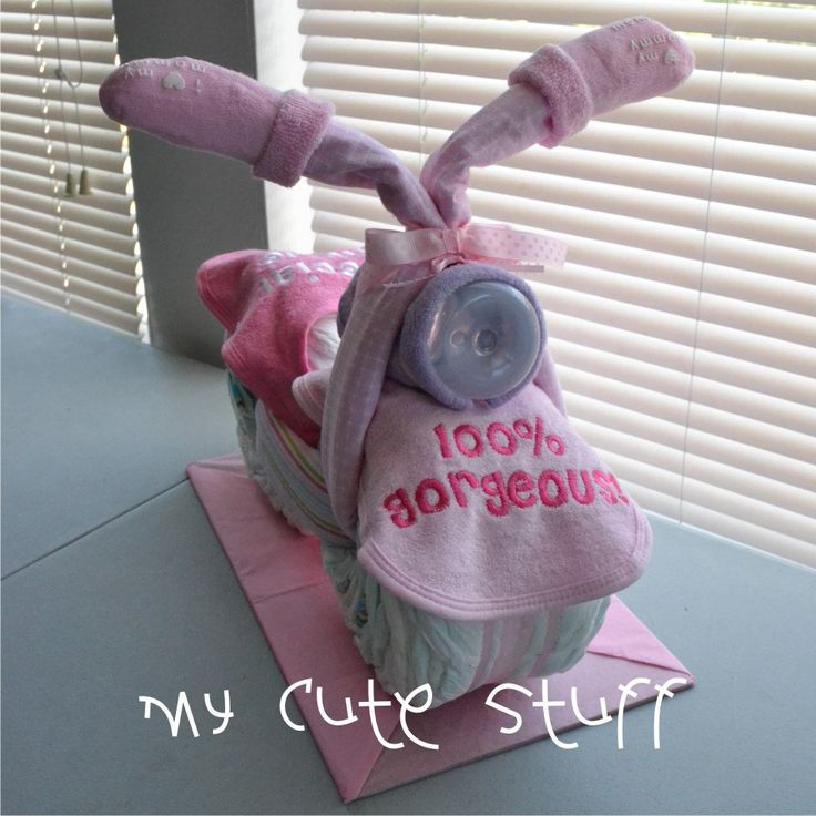 Motorcycle Diaper Cake - Baby Shower - Nursery Gift - It is a Girl. $44.00, via Etsy.