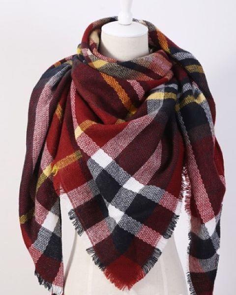 $24 Plaid Triangle Scarf - Burgundy.  Check out our post at www.facebook.com/royalravenboutique #freeshippinginlower48states #boutique #instashop #style #fallfashion #falltrends #burgundy #royalravenboutique #winter #plaid #coolnights #autumn #bonfirenight #trendy #trianglescarf