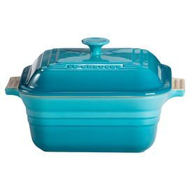 """Stoneware casserole in Caribbean with chip-resistant enamel. Dishwasher and oven safe.  Product: Casserole and lidConstruction Material: StonewareColor: Caribbean  Features:  Maintains even temperatures and prevents scorching3 Quart capacity Dimensions: 3.75"""" H x 9"""" W x 9"""" DNote: Microwave, freezer, refrigerator, dishwasher, oven and broiler safe"""