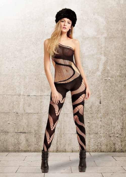 Retro One Should Black Fishnet Bodystocking-Bodystocking with one shoulder appeal, a variation of strings and opaque design #lingerie #womens #fashion www.razordolldesigns.com