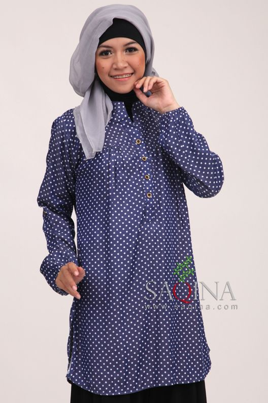 Blue dark denim Polkadot
