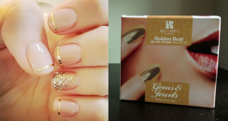 This classy look is to die for. Create your own version of it with our 'Golden Dust' Gems & Jewels Nail Art Kit.