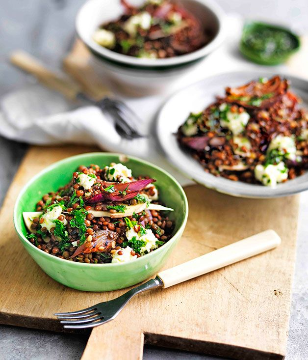 Mushroom, lentil and pickled onion salad
