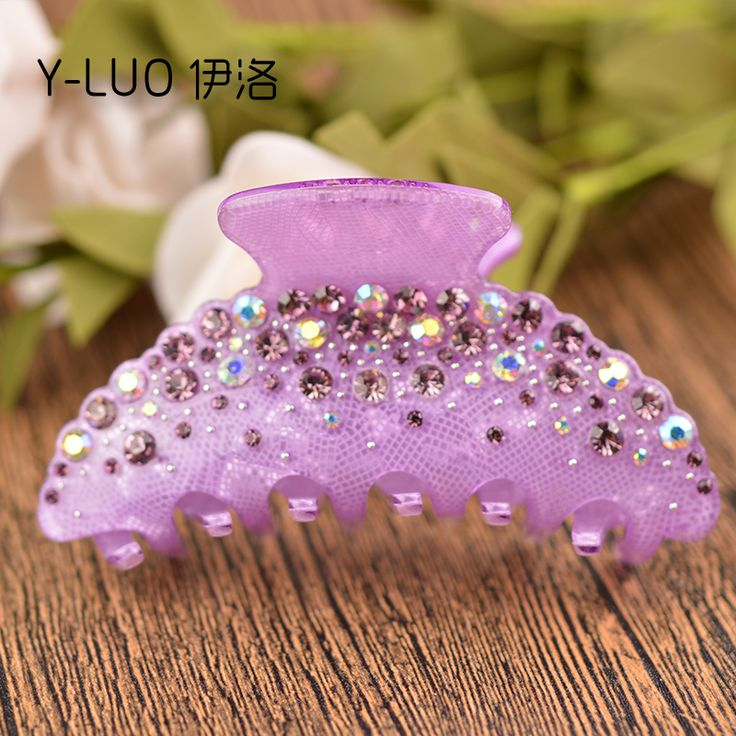 High Quality Luxury Colorful Rhinestone Crystal Cellulose Acetate Hair Claw Clip 10cm Long FREE SHIPPING