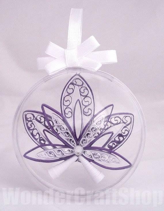 Quillingowa bombka  Autor: Edyta Mosoń   #QSQ #Christmas #tree #ornament #inspiration #idea #decor #glass #ball #quilling #paper #handmade #DIY #homemade #elegant