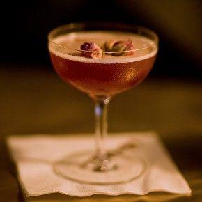 Mata Hari   Liquor.com - cognac, chai-infused sweet vermouth, lemon juice, pomegranate juice