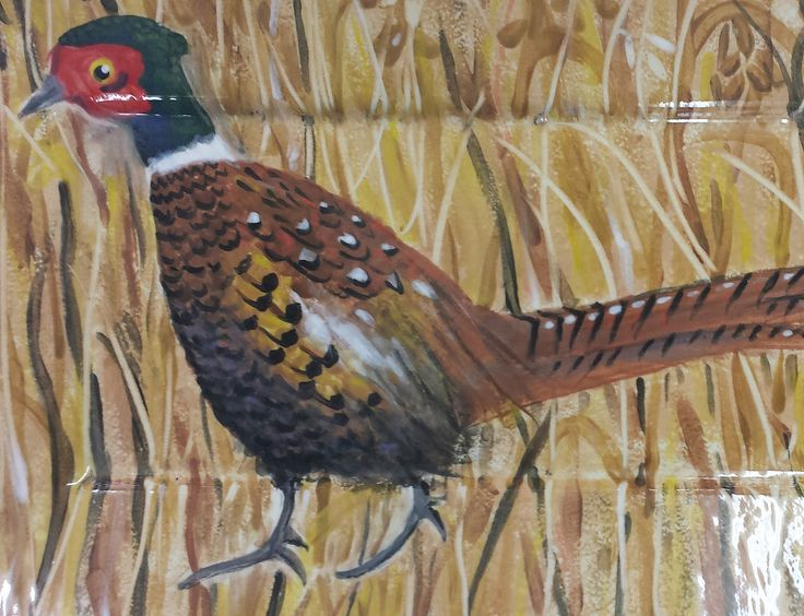 A pheasant walking a field of wheat. These rich autumnal colours make any kitchen warm and inviting.