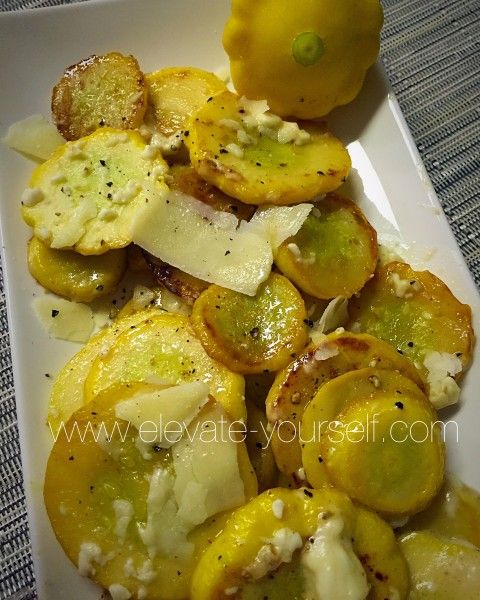 Sauteed Sunburst Squash with Feta - eleVATe yourSELF  Sauteed Sunburst Squash with Feta (aka Pattypan squash) fresh from the Farmers Market. They were delicious…of course cheese makes everything taste good. This was my first experience with these and we really enjoyed them! I thought about stuffing them but they were a little small so I decided to sautee them instead. I would say it was a success! They taste similar to zucchini, and like most squash are low in calorie and high in vitamins…