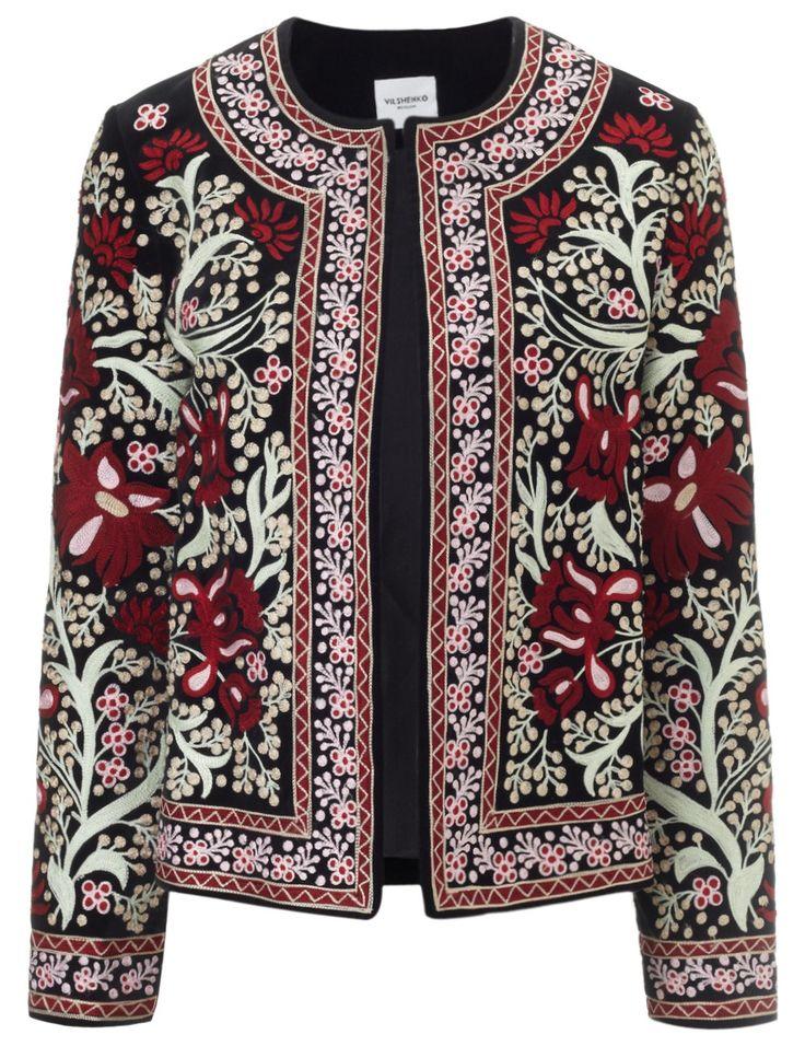 Black Embroidered Folk Jacket | Vilshenko | Avenue32
