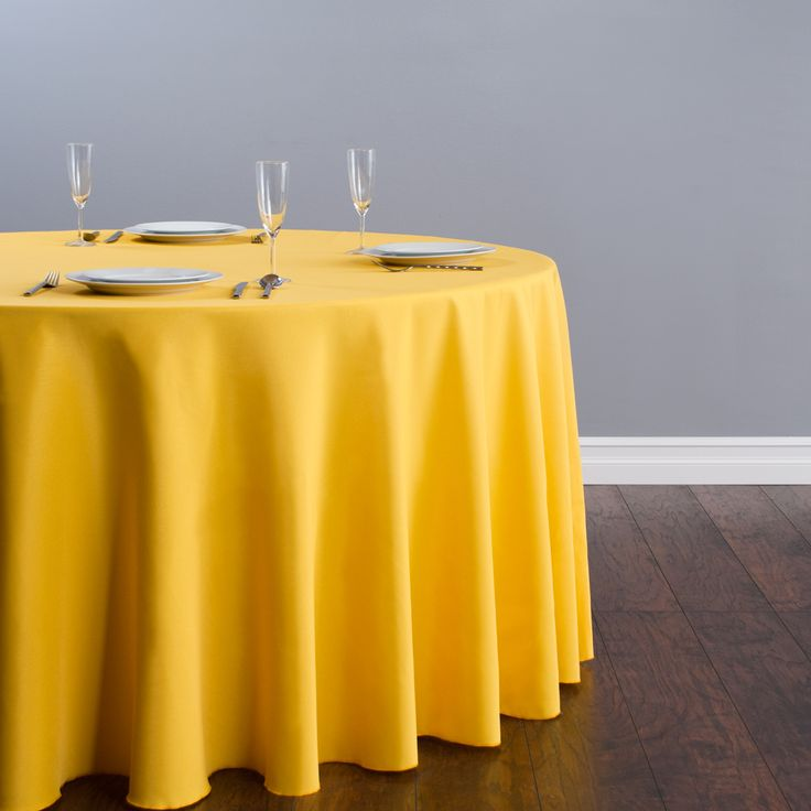 Round Polyester Tablecloth Gold