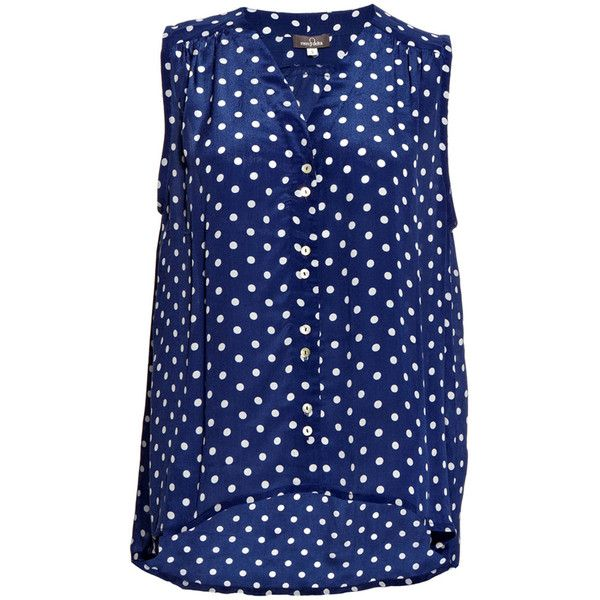 Mercy Delta Miki Polka Dot Shirt - Navy ($275) ❤ liked on Polyvore