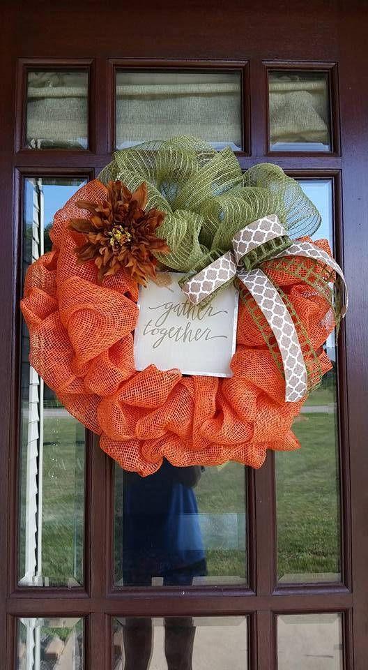 Corona de otoño calabaza Deco malla