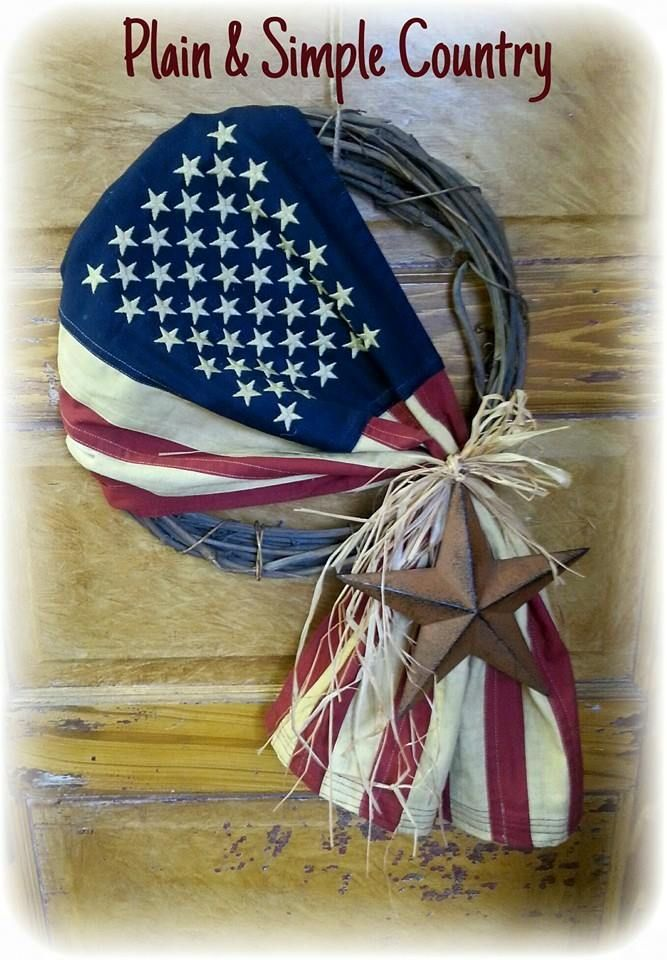 "PASC crafted 14"" grapevine American Flag Wreath with rusty star & raffia."