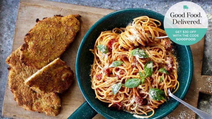 Parmesan chicken schnitzel with spaghetti pomodoro