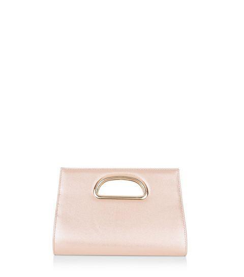 Pink Metallic Metal Handle Clutch