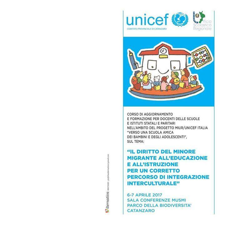 """Questo Comitato Provinciale Unicef, unitamente all'Ufficio Scolastico Regionale Calabria, organizza in virtù del Protocollo d'intesa regionale tra i due sopradetti Soggetti, l'annuale corso di formazione e aggiornamento per Docenti delle Scuole di ogni ordine e grado statali e paritari della provincia sul tema:  """"Il diritto del Minore migrante all'Educazione e all'Istruzione-per un corretto percorso di integrazione interculturale"""".  Il corso si svolgerà presso la Sala Convegni del MUSMI…"""