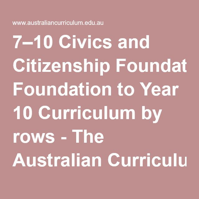 7–10 Civics and Citizenship Foundation to Year 10 Curriculum by rows - The Australian Curriculum v8.2