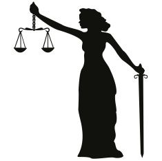 Lady Justice Silhouette vector art illustration