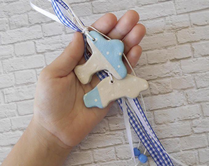 New Baby Ornament - Transportation Theme - Airplane Nursery - Airplane Baby Shower - New Baby Boy Gift - Transportation Decor - ArtFly
