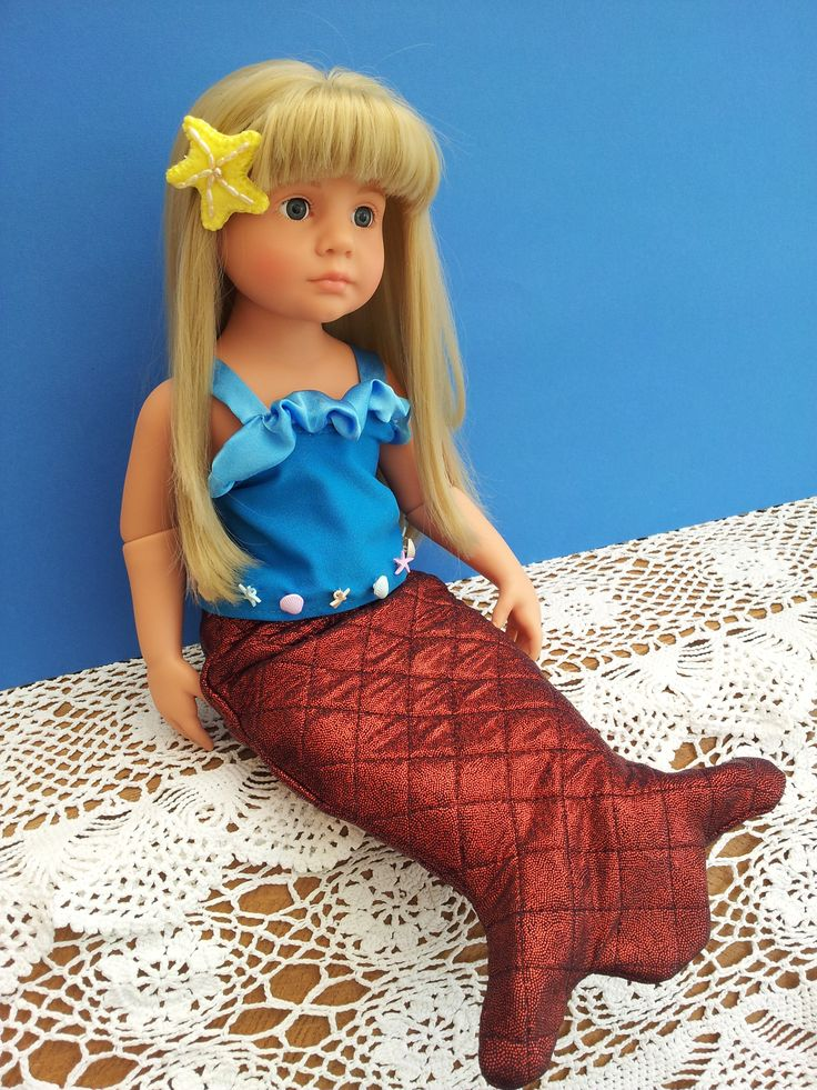 Mermaid Outfit, as in Abie Longstaff 's new book, The Fairytale Hairdresser and The Little Mermaid.  Abie asked me to design this outfit for her Gotz Precious Day doll.  Modelled here on my Gotz Katie Happy Kidz.
