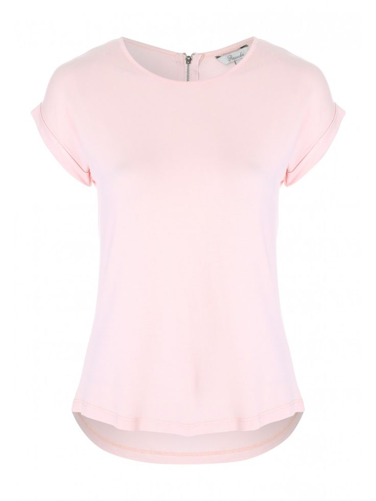 Simple yet stylish, this women's pink zip back t shirt is the perfect addition to your casual wardrobe. With short roll up sleeves and a slightly dipped hem ...