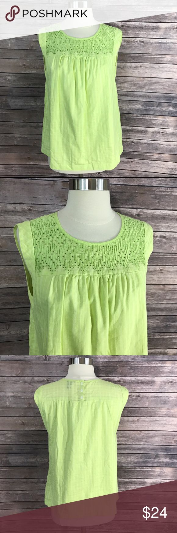 J Crew Sz 6 Womens Top Lime Green Embroidered Neck Measurements: (in inches) - Underarm to underarm: 19 - Length: 24 Good, gently used condition J. Crew Tops Blouses