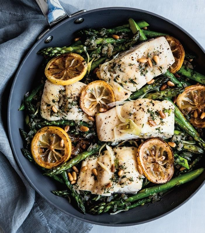 Prep this spring dish in just one pan. Sauté the asparagus, steam the fish, and finally simmer the sauce.