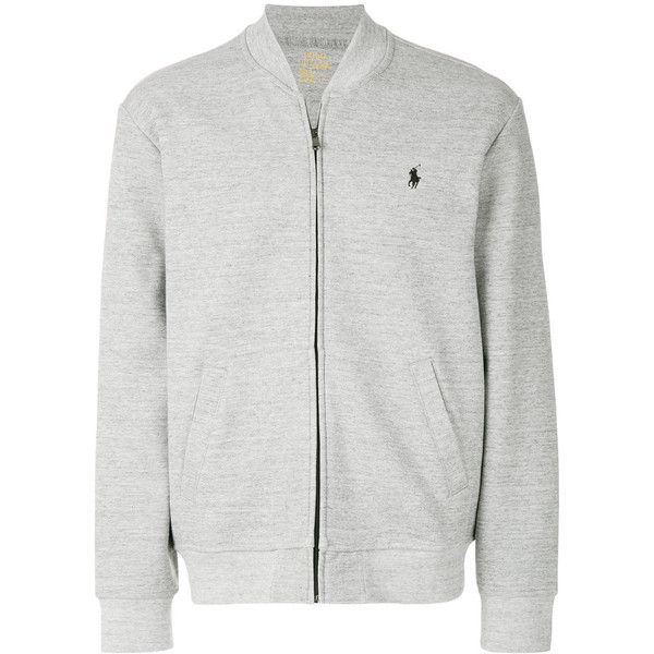 Polo Ralph Lauren logo jersey bomber jacket ($153) ❤ liked on Polyvore featuring men's fashion, men's clothing, men's outerwear, men's jackets, grey, mens gray leather jacket, mens collarless jacket, men's embroidered bomber jacket, mens grey bomber jacket and mens patch jacket