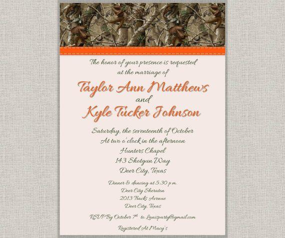 Orange Camo Wedding Invites