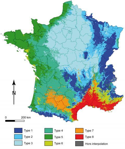 Figure2. Typologie climatique du territoire français en 8 classes