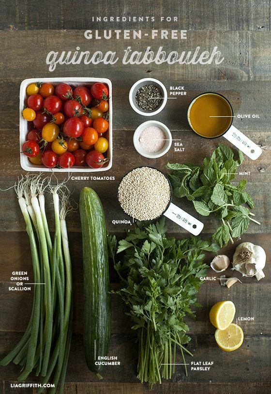 Gluten Free Quinoa Tabbouleh. Recipe @LiaGriffith.com #GF #glutenfreeliving