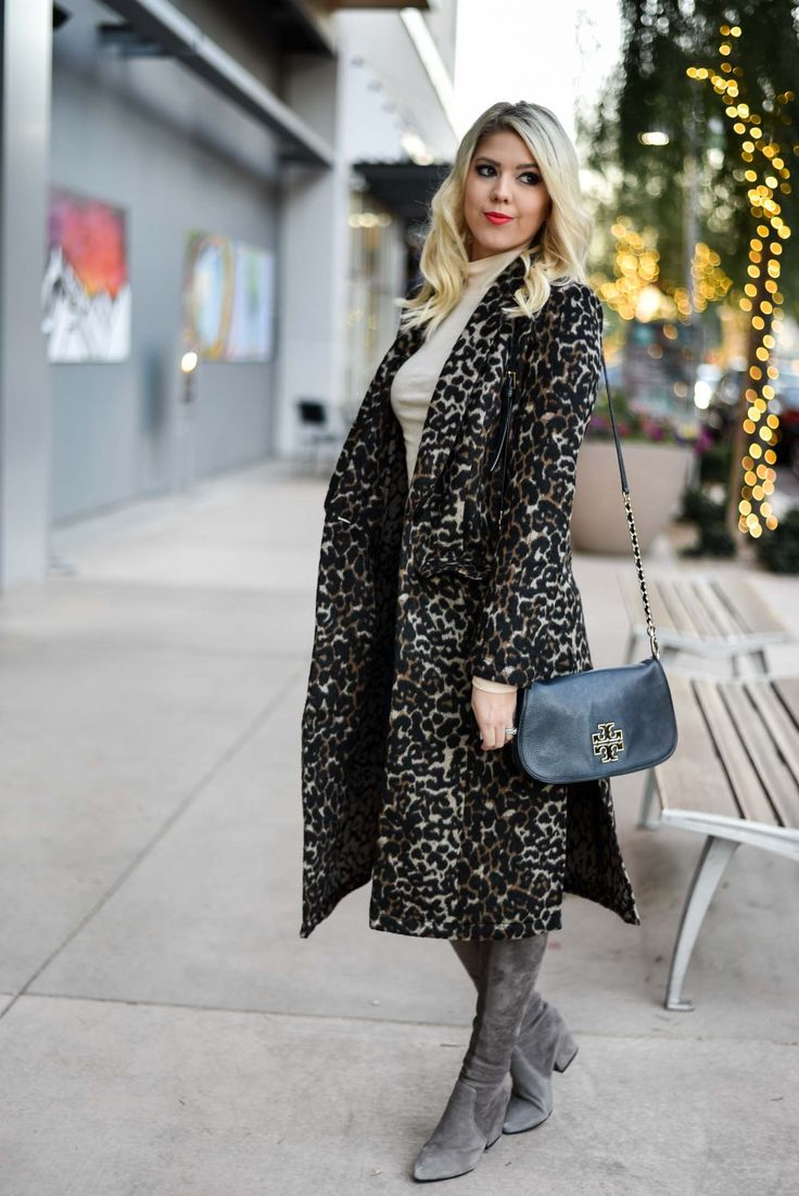 Erin Elizabeth of Wink and a Twirl in Nordstrom Leith Leopard Coat