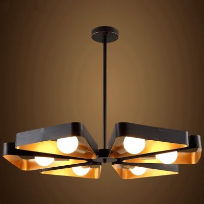 6 Light Industrial LED Chandelier in English Bronze and Antique Gold